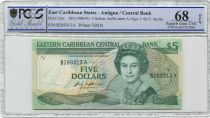 East Carribean States 5 Dollars Elisabeth II - Palm tree - 1988 - PCGS 68 OPQ