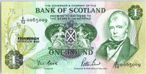 Ecosse 1 Pound - Sir W. Scott - Armoiries - Navire - 1988