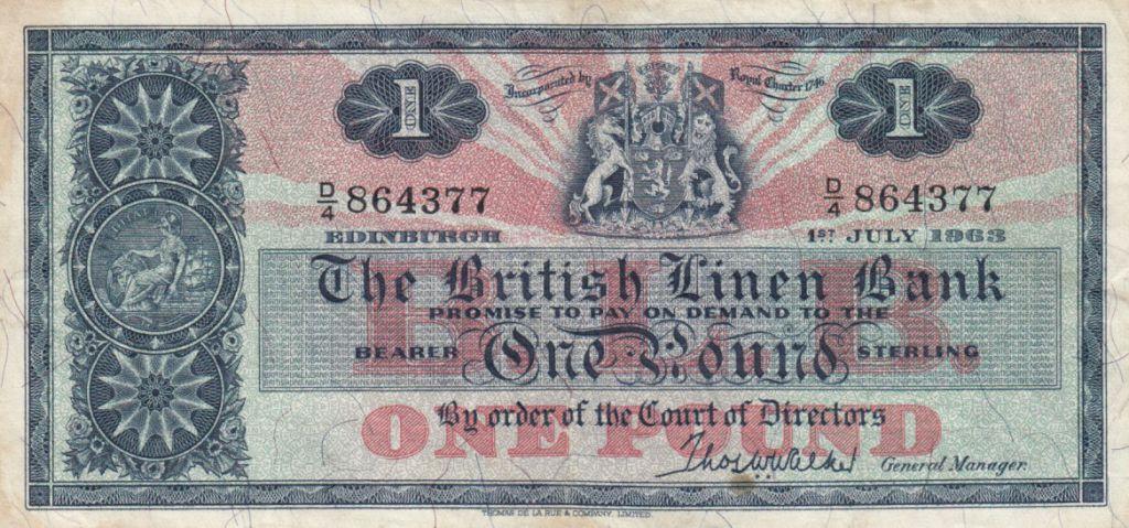 Ecosse 1 Pound British Linen Bank - 01-07-1963 - TTB - P.166c