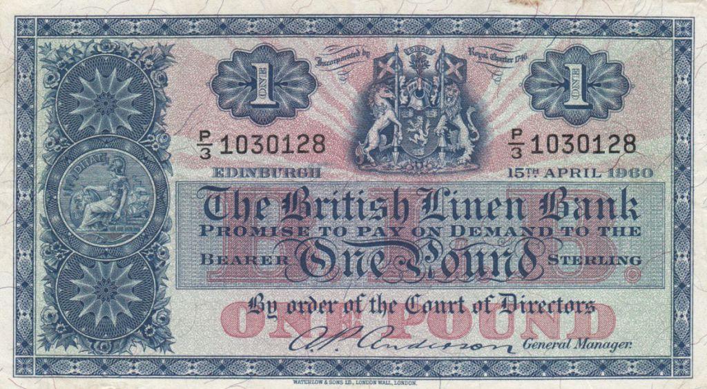 Ecosse 1 Pound British Linen Bank - 115-04-1960 - TTB - P.157e
