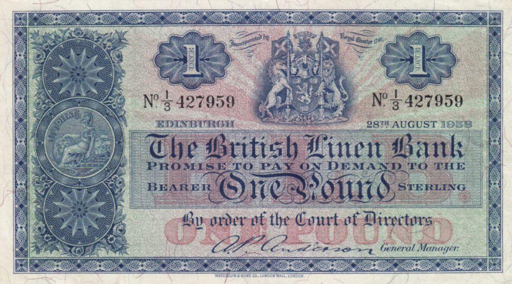 Ecosse 1 Pound British Linen Bank - 28-08-1958 - TTB - P.157d