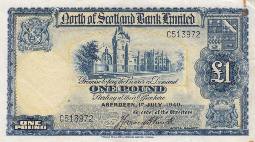 Ecosse 1 Pound North of  Scotland Bank - 1940 p.TTB - S.644