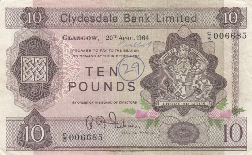Ecosse 10 Pounds Cyclade Bank Limited 1964 - P.199 - p.TTB