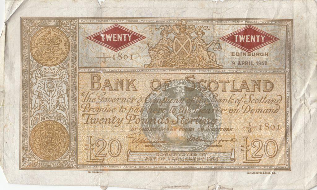 Ecosse 20 Pounds Bank of Scotland - 1952 - p.TB - P.94c
