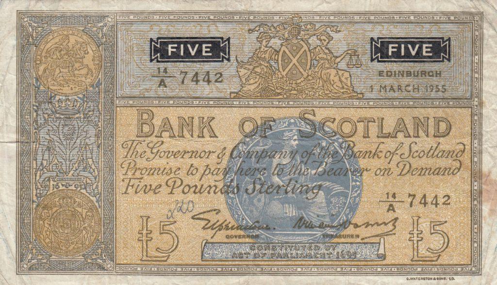 Ecosse 5 Pounds Bank of Scotland - 1955 - TB - P.99a