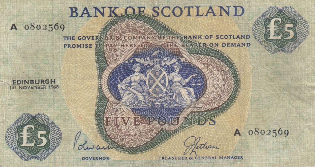 Ecosse 5 Pounds Bank of Scotland - 1968 - P.TTB - P.110a