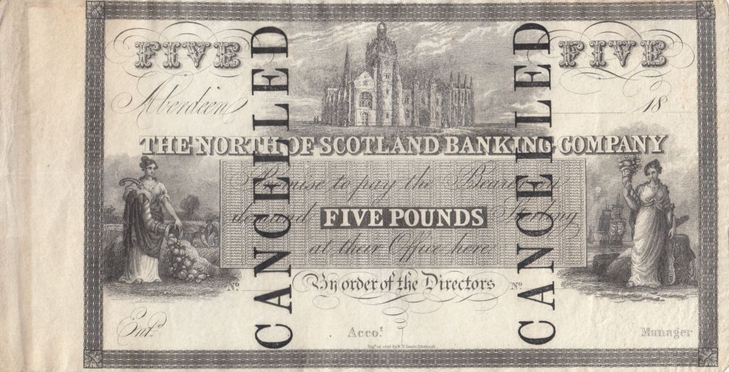 Ecosse 5 Pounds North Scotland Banking Company - ND 1836 - S.612 - RARE !