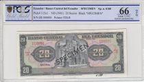 Ecuador 20 Sucres,  Eglise  - Condor - 1961 - Specimen - PCGS 66OPQ