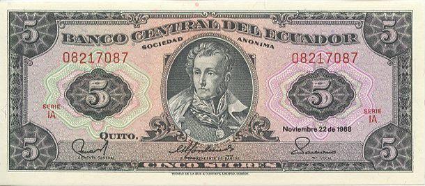 Banknote Ecuador 5 Sucres 1988
