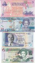 Ecuador Set 4 banknotes Islands Cook, Caymans, Mauritius, Barbados, Caribbean