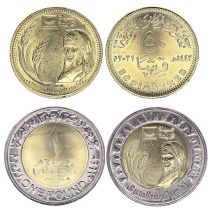 Egypt Set 2 coins 50 Piastres and 1 Pound Developpement countryside - 2021 Bimetal - AU