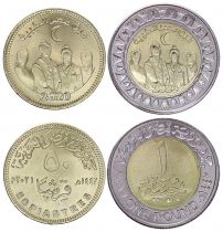 Egypt Set 2 coins 50 Piastres and 1 Pound Health Day - 2020 (2021) Bimetal - AU