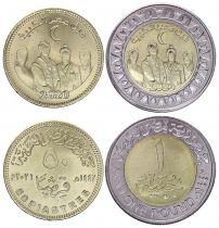 Egypt Set 2 coins 50 Piastres and 1 Pound Health Day - 2020 (2021) Bimetal - AU