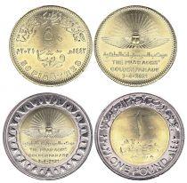 Egypt Set 2 coins 50 Piastres and 1 Pound Pharaons Golden Parade - 2021 Bimetal - AU