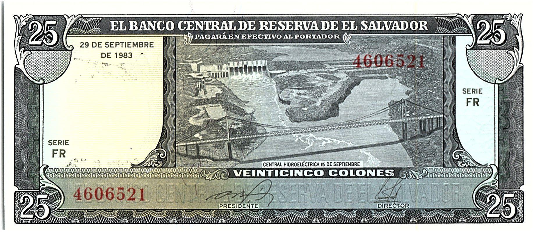 El Salvador 25 Colones, C.Colomb, Port - 1983