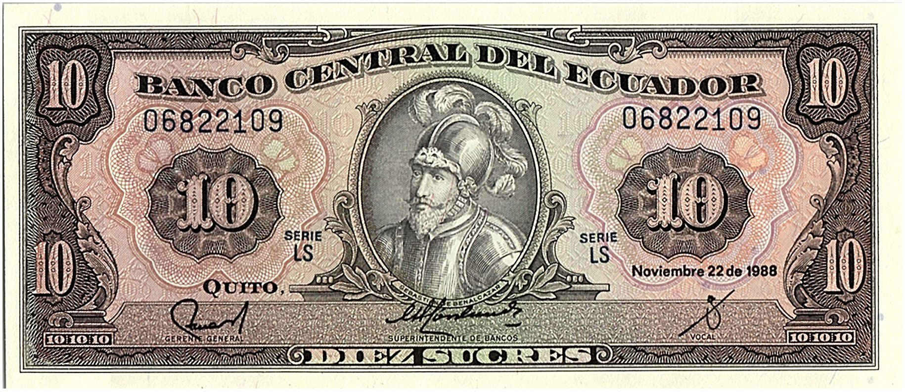 Equateur 10 Sucres  - Sébastian de Bénalcazar -  armoiries - 1988