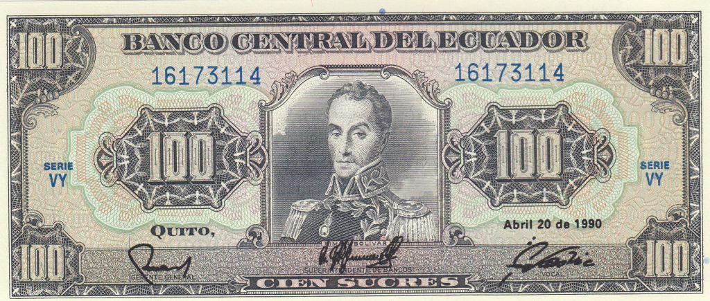 Equateur 100 Sucres 1990 - Simon Bolivar