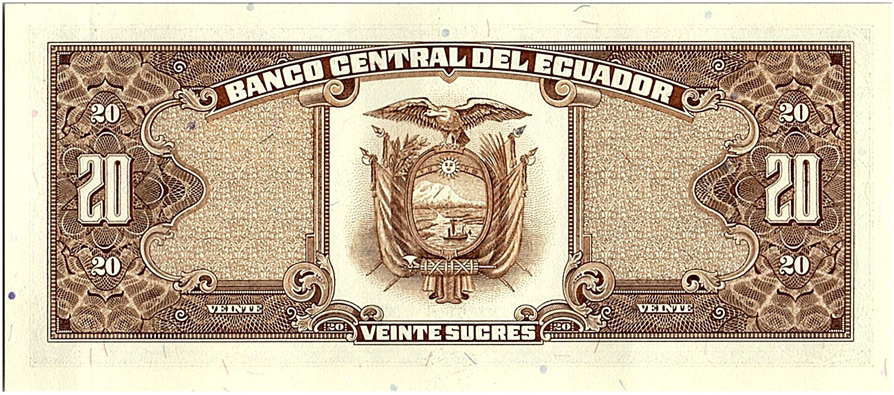 Equateur 20 Sucres  - Eglise, armoiries - 1988