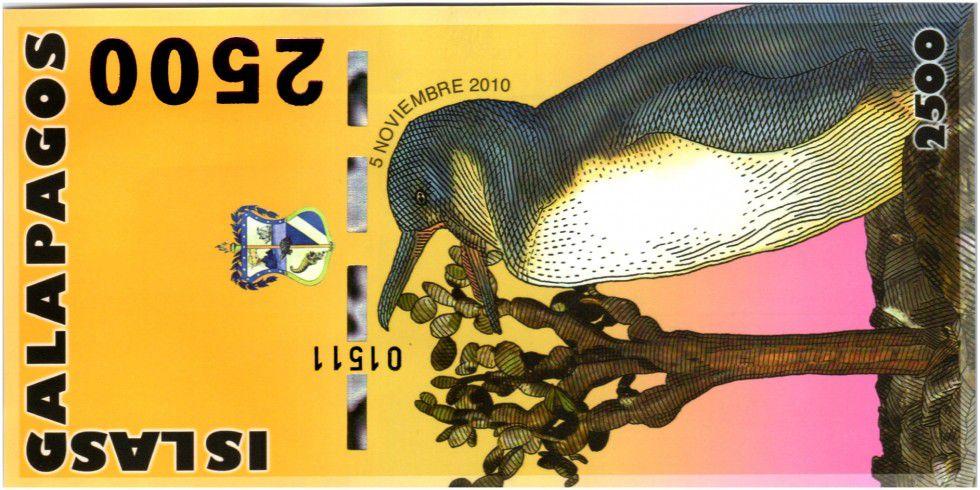 Equateur 2500 Sucres, Charles Darwin - Pingouin 2010