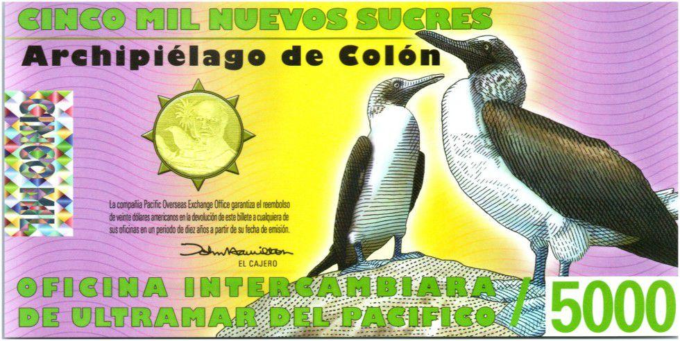 Equateur 5000 Sucres, Charles Darwin - Oiseaux 2011