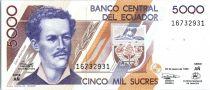 Equateur 5000 Sucres Juan Montalvo - Tortue - Oiseaux - 1999