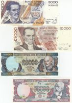 Equateur Série 4 billets : 5000 à 50000 Sucres - 1999