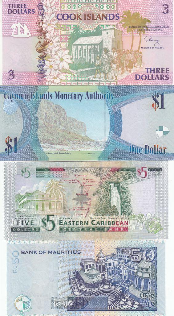 Equateur Série 5 billets des îles : Cook, Caîmans, Maurice, Barbade, Caraîbes
