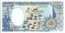 Equatorial Guinea 1000 Francs Icomplete Map - Elephant - 1985
