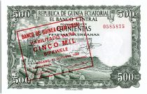 Equatorial Guinea 5000 Bipkuele on 500  Pesetas, lumbering - 1980
