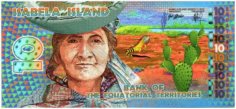 Equatorial Territories 10 Francs, Isabela Island - Woman - Lightfoot crabe Indians peopleIsabela Island - Woman - Lightfoot crab