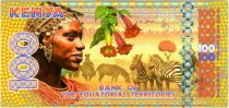 Equatorial Territories 100 Francs, Kenya - Zebras, birds, dancers 2015
