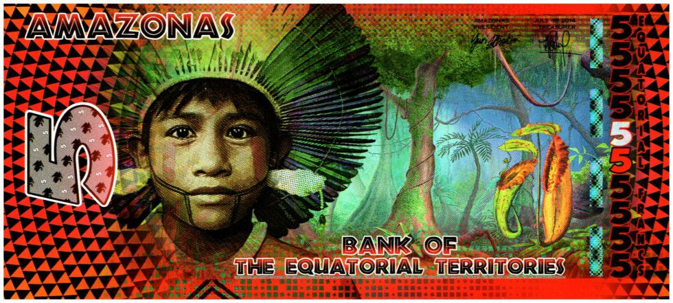 Equatorial Territories 5 Francs, Amazonas - Indian - Frog and dancers 2014