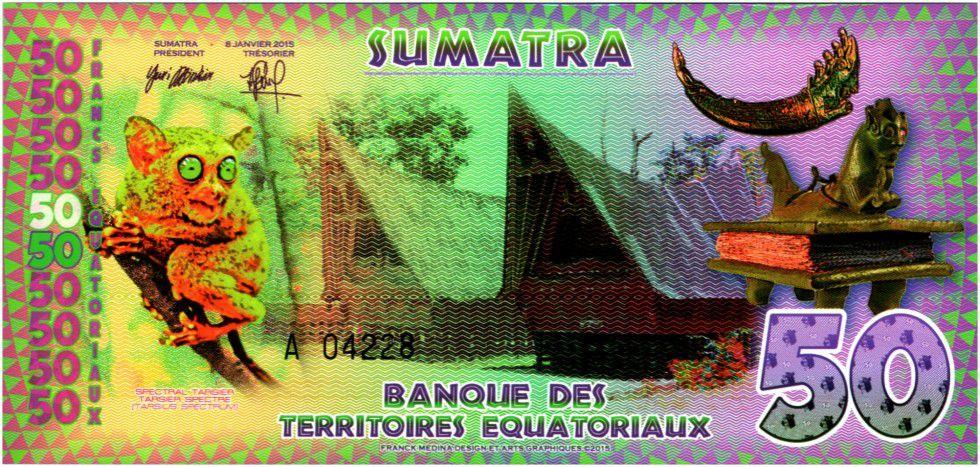 Equatorial Territories 50 Francs, Sumatra - Indian - Fleur, Tarsier and Hutts 2015