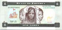 Eritrea 1 Nakfa Three Girls - Children in bush school - 1997