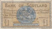 Escocia 1 Pound - 01-03-1955 -Seated woman, Ship, Thistle - Serial A