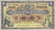 Escocia 1 Pound - 01-03-1960 - Allegorical figures, bank buildings - Serial AY