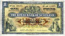 Escocia 1 Pound 1944 - Coat of arms, buildings - Serial AW
