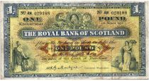 Escocia 1 Pound 1957 - Coat of arms, buildings - Serial AN 2nd