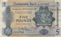 Escocia 5 Pounds 1963 - Coat of arms, church - Serial C/C