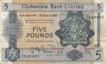 Escocia 5 Pounds 1965 - Coat of arms, church - Serial C/F