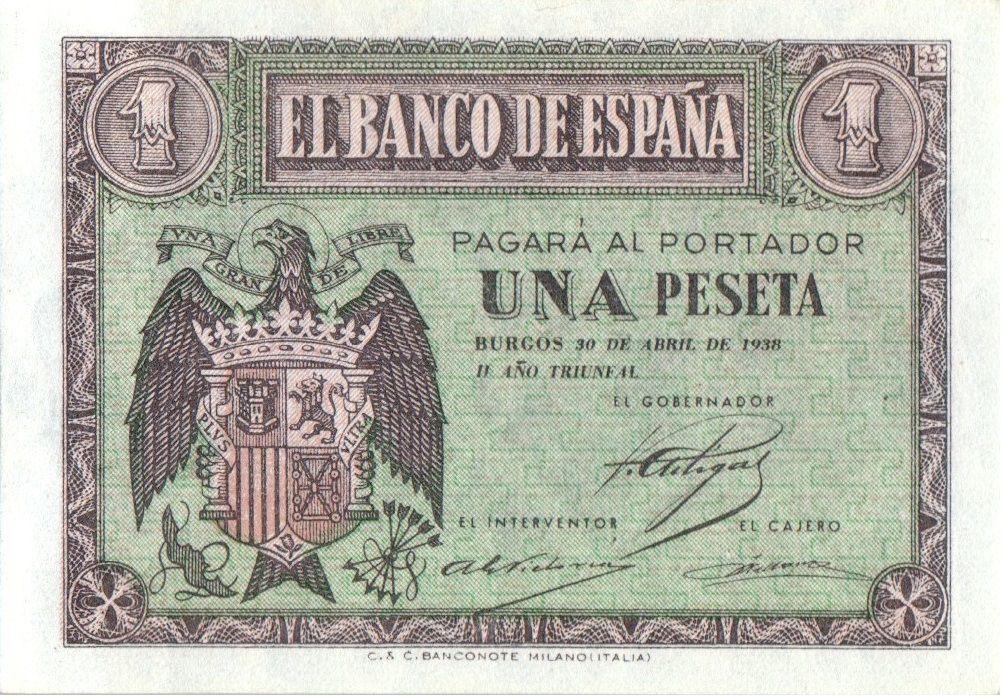 Espagne 1 Peseta Armoiries - 1938