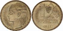 Espagne 1 Peseta Tête de femme dite La Blonde- Raisin -1937