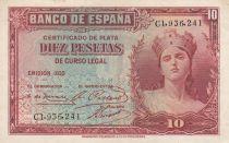 Espagne 10 Pesetas 1935 - Portrait de femme - Série C1
