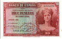 Espagne 10 Pesetas Portrait de femme - 1935 - sans série - SUP - P.86
