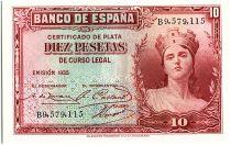 Espagne 10 Pesetas Portrait de femme - 1935 - Série B - P.neuf - P.86