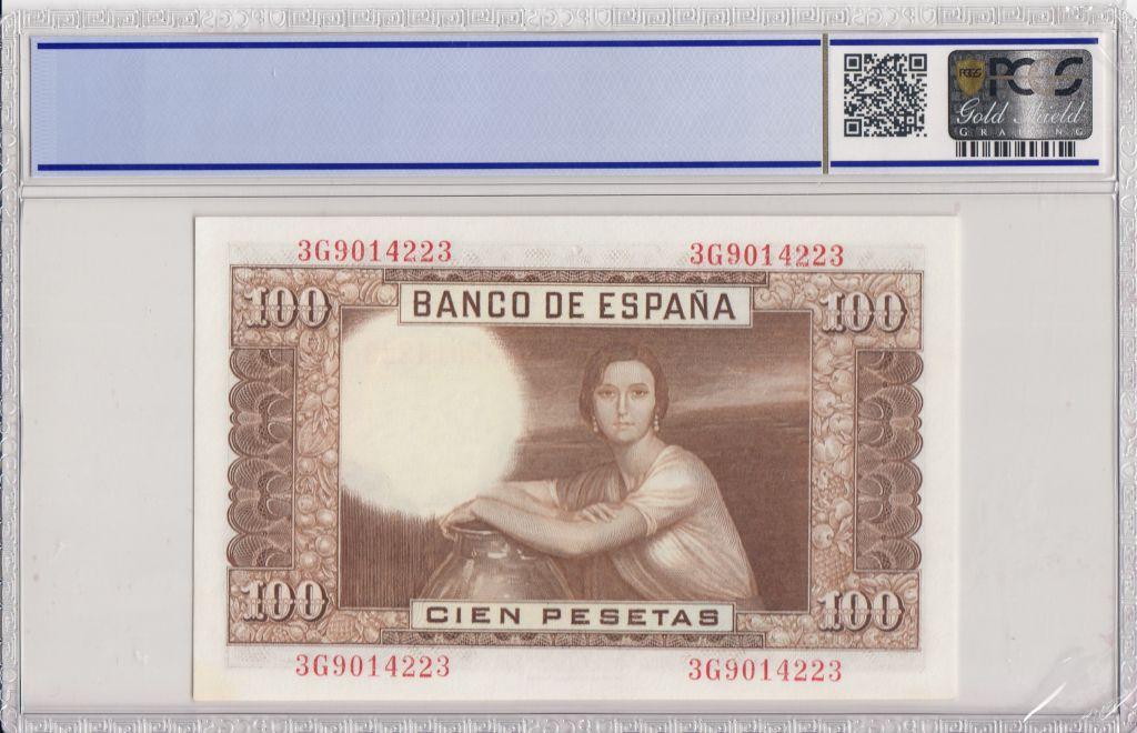 Espagne 100 Pesetas 1953 - J.R. de Torres - PCGS 67 OPQ