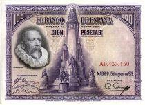 Espagne 100 Pesetas M. De Cervantes - 1928 - Série A - SUP - P.76