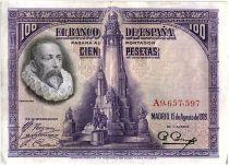 Espagne 100 Pesetas M. De Cervantes - 1928 - Série A - TTB - P.76