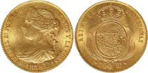 Espagne 100 Reales Isabelle II - Armoiries - 1859 - Barcelone - Or