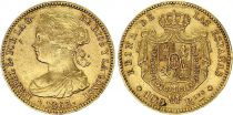 Espagne 100 Reales Isabelle II - Armoiries - 1863 - Séville - Or